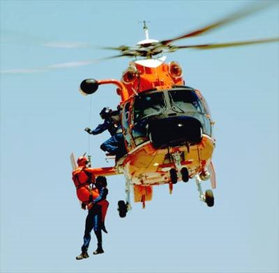 Helicopter pilot rescue swimmer